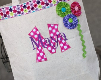 Girls personalized BRIGHT appiqued canvas flower girl tote bag great birthday bag beach bag overnight bag
