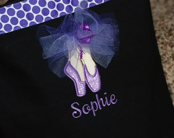 Girls personalized dance bag ballet bag with applique dance shoes
