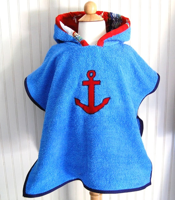 Hooded Towel Swimsuit Anchor Sailboat Cover Up in Blue Terry - Size 3 / 4T by The Trendy Tot