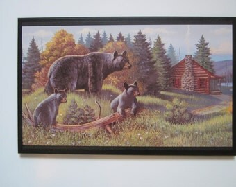Bear Family Rustic Lodge Style Home Wall Decor sign country cabin bear picture