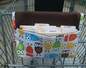 Waterproof Coupon or Purse Organizer Owls Fabric Brown Lining