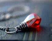 Crystal Necklace, Crystal Pendant, Red Crystal, Wire Wrapped, Swarovski Crystal, Lava Red, Scarlet Red, Sterling Silver, Antiqued, PoleStar