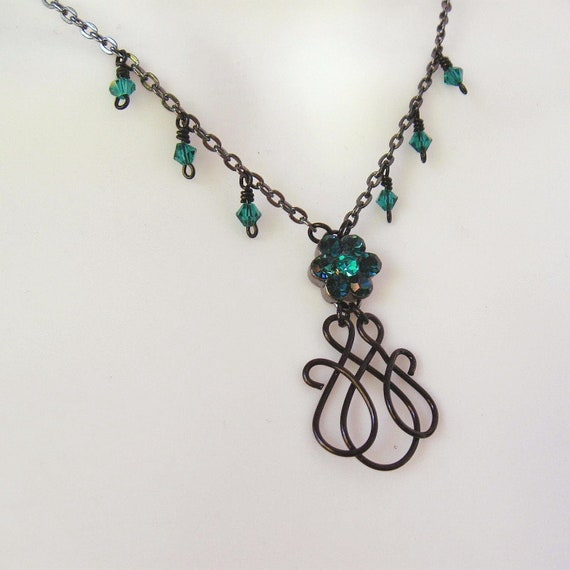 Wire Work Pendant Necklace - Aqua and Teal Crystal Flower - Midnight Blue