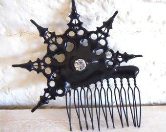 Gothic Clock hand Hair Comb black with crystal ornate hair Ornament made with petite clockhands- Evening Star