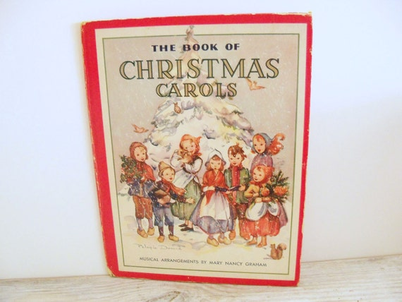 Antique Book Christmas Carols Signed Cover Art 1938
