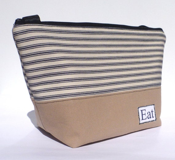 Insulated Lunch Bag Large Eco Friendly Zip Navy Stripe Brown Lunch Bag by BonTons