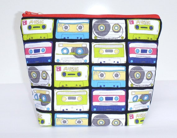 Insulated Lunch Bag Little - Zip Eco Friendly Love Music Cassettes by BonTonsGifts on Etsy