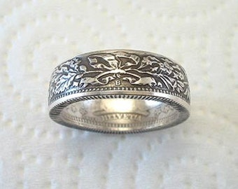 Sizes 6 1/2 - 10. Coin Ring. Swiss Helvetia Silver 2 Franc. Place Your Custom Order Here.