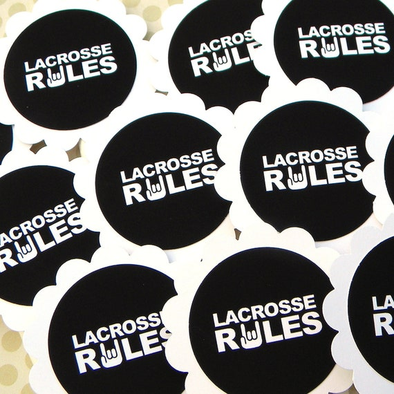 Lacrosse Rules Cupcake Toppers, Set of 12, Black, White