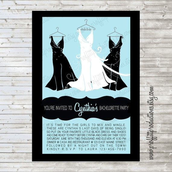 Little black dress custom bridal shower invitation with for Little black wedding dress