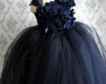 Flower girl dress, Navy Blue tutu dress, Girls Dress, flower top, baby tutu dress, toddler tutu dress