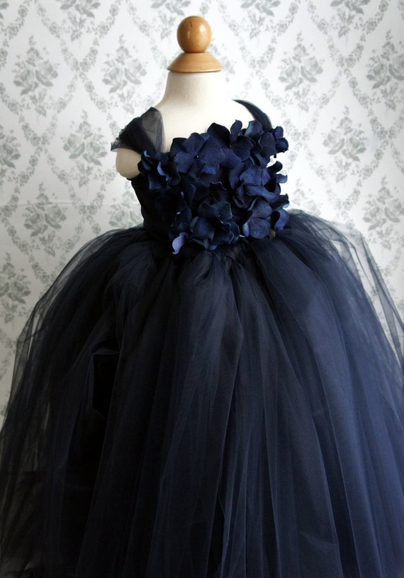 Flower girl dress, Navy Blue tutu dress, Girls Dress, flower top, baby tutu dress, toddler tutu dress