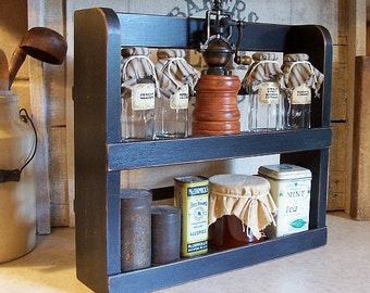Primitive Spice Rack Two Shelf Farmhouse Kitchen Storage / Lamp Black / Color Choice