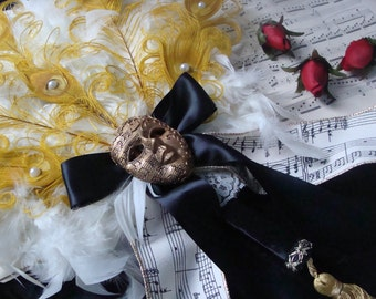 Phantom of the Opera feathered fan bouquet in your choice of colors - CUSTOM CREATED for YOU