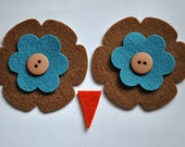 Ollie Owl Hat - Eyes and Beak Kit - Acorn and Ocean Blue