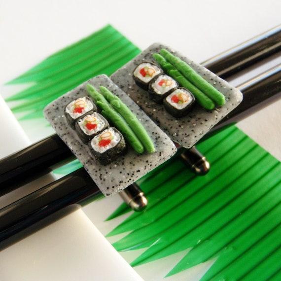 Sushi Cufflinks - Maki Sushi Cuff Links - Miniature Food Art Jewelry - Schickie Mickie Original