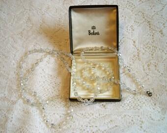 SALE! Vintage 1950s Aurora Borealis Rhinestone Necklace 54 inch Flapper Style