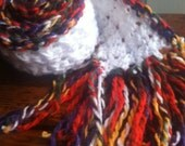 Snow covered leaves scarf in colorful fall colors and winter sparkle white