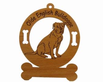 3628 Olde English Bulldogge Sitting Personalized Dog Ornament