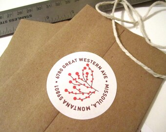 Holiday Return Address Sticker // Berries, Winter, Holiday, Red, Christmas, Wedding Invitation Envelope, Thanksgiving, Round Circle