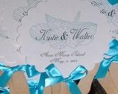 Wedding Fans, Monogram Fan, Beach Fan, Beach Wedding Fan, Seashells, Wedding Fan with Monogram Beach Wedding Seashells