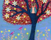 Original Painting Mixed Media Collage Art, Children Decor, Owl, Birds and Tree, Nursery Decor