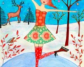 Ice Skating Girl Art Print, Large Poster Print 40x50 cm (16x20 Inch), Nursery Decor