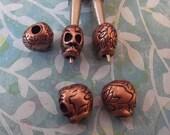 Skull Beads, Antique Copper, 4 pcs. no. sklac