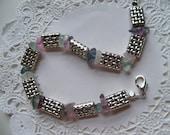 SILVERPLATE BASKETWEAVE FLUORITE Bracelet/Christmas Gift/Fluorite Jewelry