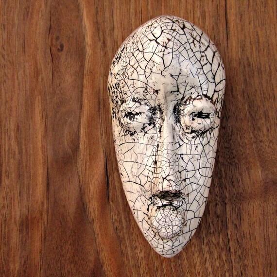 Paper Mache Mask: Miniature African Papier Mache Sculpture, Dan Tribute
