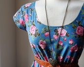 Floral Rose Tea Dress China Blue English Pink Rose Garden Dress XS S M L XL XXL