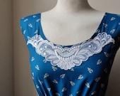Jennifer Lilly Handmade Beautiful Navy and Royal Blue Lace Motif Contrast Quaint Dress // Boho Vintage Kitsch Whimsical Cute Dress (M)