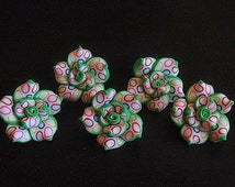 5 Polymer Clay Beads, Jewelry Supply, Handmade Roses, White / Multi Colored circles trimmed in green