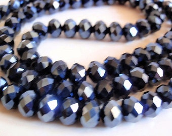 50 Glass Beads, jewelry making Supply, 1 strand (98 beads) beautiful Faceted Rondelle Crystal Suncatcher, Faceted, Abacus, Black, 6mm X 4mm