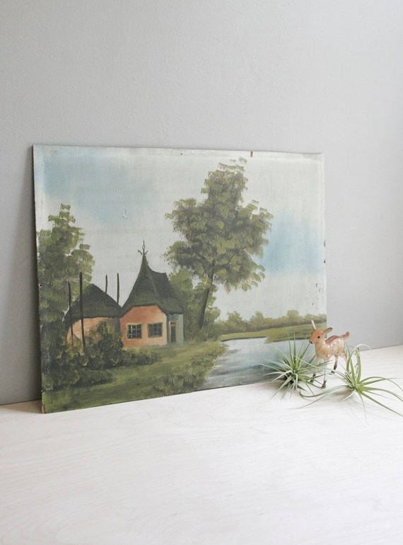 vintage original painting / cottage on the water