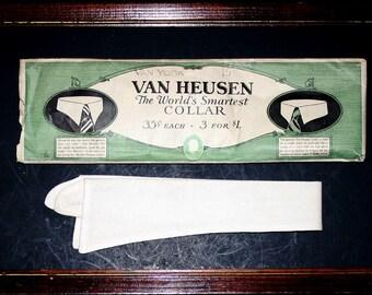 1920 Van Heusen, VAN GLOW, DETACHABLE Collar & Store Display envelope, size 14-3/4, Boardwalk Empire Era, Wall art or Wear, Vintage Clothing