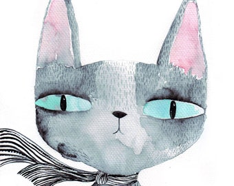 Blue eyed cat A4 print