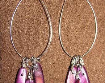 Purple Shell hoop earrings