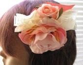 "Sweet Flower Girl, Wedding Hair Comb "" BLUSHY "" Rose Pink Hair Comb, Flower Head Piece Shabby Chic"