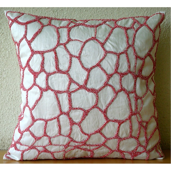Luxury Ivory Pillow Cases Abstract Shaded Beads Pillows