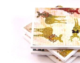 Christmas Tile Coasters - Reindeer (Set of 4 Coasters)