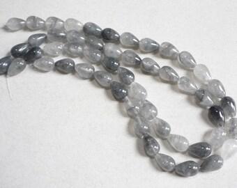 Super New Gemstone Natural Silver Quartz Chubby Bulb Drop Beads 1/2 Strand