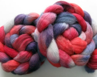 Red and purple-   Corriedale Roving / Wool Roving (Top) - Handpainted Spinning or Felting Fiber, 4 ounces