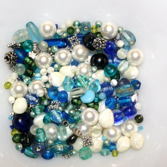 Mixed New and Vintage Glass and mixed Ocean Beach Glass Colors Sailing