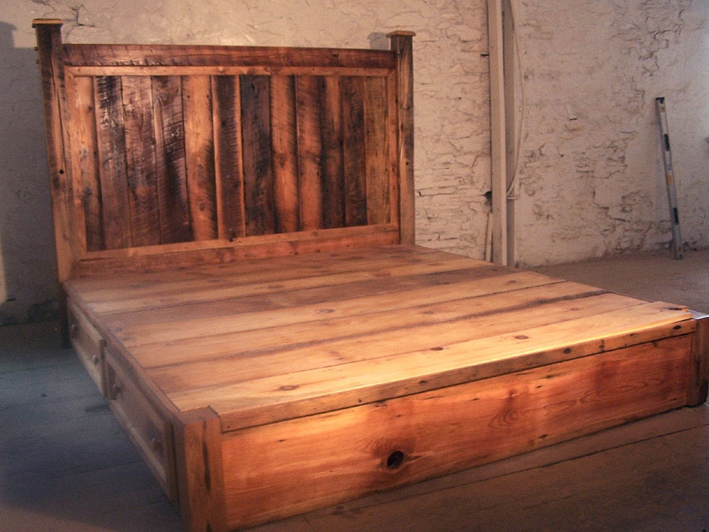 Reclaimed rustic pine platform bed with headboard and 4 Rustic bed frames