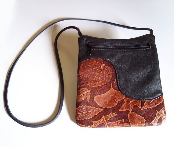 Black Leather Purse Handbag with Leaf Accent - Cross Body Style
