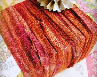 Copper and Berry Tapestry trim - lovely woven ribbon embellishment - holiday, wedding, wrap, craft, supply - 5 yards