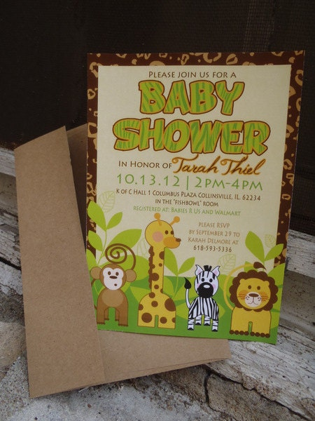 Jungle Themed Baby Shower Invite by MariahDesignShop