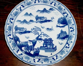 """Vintage Extra Large 11"""" Asian Japanese, Decorative Mantel Stoneware Porcelain, Blue and White Hand Painted Charger Plate- Bombay"""