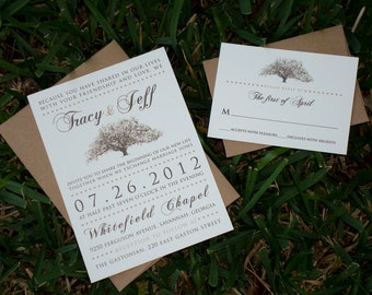 Rustic Savannah Live Oak Tree Wedding Invitations